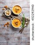 mushroom cream soup with...   Shutterstock . vector #452292940