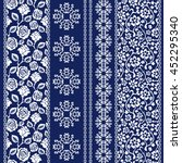 set of batik bohemian borders.... | Shutterstock .eps vector #452295340