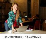 creative girl working with... | Shutterstock . vector #452298229