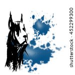 black dog circuit on a blue... | Shutterstock .eps vector #452299300
