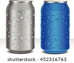 aluminum cans in grey and blue... | Shutterstock .eps vector #452316763