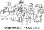 black and white cartoon... | Shutterstock .eps vector #452317210