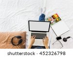 top view girl sitting on bed... | Shutterstock . vector #452326798