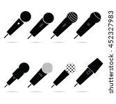 microphone set in black color... | Shutterstock .eps vector #452327983