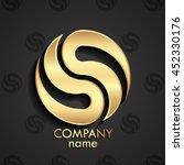 3d Golden Modern Circle Logo  ...