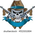 mafia gangster skull with...