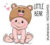 cute cartoon baby boy in a bear ...   Shutterstock . vector #452336953
