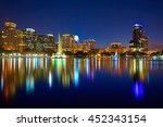 orlando skyline sunset at lake... | Shutterstock . vector #452343154