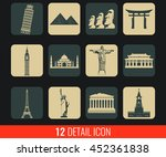 world landmarks flat icons set. ... | Shutterstock .eps vector #452361838