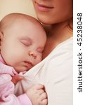 beautiful little girl asleep on ... | Shutterstock . vector #45238048
