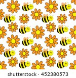 seamless pattern with bees   Shutterstock .eps vector #452380573
