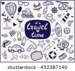 travel time hand drawn card.... | Shutterstock .eps vector #452387140