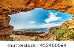 small cave in alghero rocky... | Shutterstock . vector #452400064