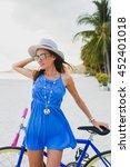 young beautiful woman posing... | Shutterstock . vector #452401018