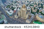 Small photo of Aerial view on the Russian Ministry of foreign affairs. Arbat street and other Moscow centre streets view from the top.