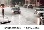 fast speed. moving car sprays... | Shutterstock . vector #452428258