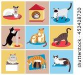 set of cute cartoon cats ... | Shutterstock .eps vector #452428720