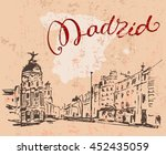 madrid hand drawn street. spain.... | Shutterstock .eps vector #452435059