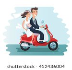 the newlyweds go on a moped.... | Shutterstock .eps vector #452436004