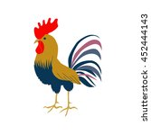 cock in flat style. rooster... | Shutterstock .eps vector #452444143