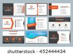 set of 9 modern business card... | Shutterstock .eps vector #452444434
