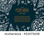 vintage pizza frame vector... | Shutterstock .eps vector #452475658