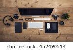 overhead view work place hero... | Shutterstock . vector #452490514