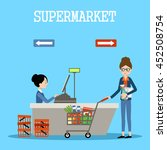 people in a supermarket with... | Shutterstock .eps vector #452508754