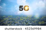 5g  text on city and sky