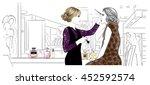 make up artist applying...   Shutterstock .eps vector #452592574