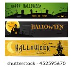 three halloween landscape... | Shutterstock .eps vector #452595670