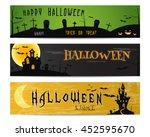 three halloween landscape... | Shutterstock .eps vector #452595670
