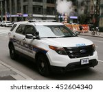 NEW YORK - JULY 9, 2016: Metropolitan Transportation Authority Police providing security near Grand Central Station in Midtown Manhattan - stock photo