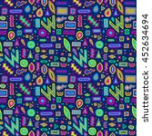 aztec abstract doodles pattern. ... | Shutterstock .eps vector #452634694