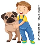 boy hugging pet dog illustration | Shutterstock .eps vector #452640094