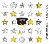 collection  handdrawn  stars. | Shutterstock .eps vector #452640478