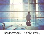 city scape businessman thinking ... | Shutterstock . vector #452641948
