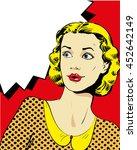 woman with speech bubble.... | Shutterstock . vector #452642149