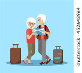 couple of elderly people travel ... | Shutterstock .eps vector #452643964