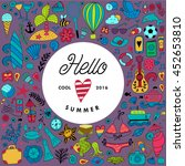 summer doodles design  travel... | Shutterstock .eps vector #452653810