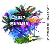 summer background with palm...   Shutterstock .eps vector #452657344