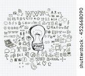 business doodles sketch vector... | Shutterstock .eps vector #452668090