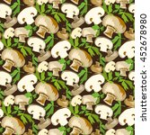 mushroom with parsley leaves.... | Shutterstock . vector #452678980