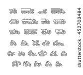 Set Line Icons Of Trucks And...