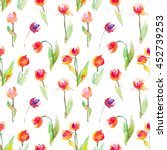 tulips pattern | Shutterstock . vector #452739253
