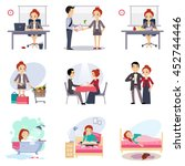 daily routine set with cute girl | Shutterstock . vector #452744446