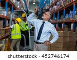 serious manager pointing... | Shutterstock . vector #452746174