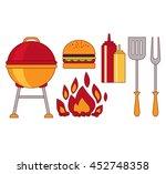 food grill bbq roast steak flat  | Shutterstock . vector #452748358