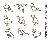 bird icons  thin line style ... | Shutterstock . vector #452761780