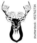 head of deer with decorative... | Shutterstock .eps vector #452762734